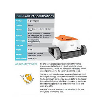 pool cleaner company. Dolphin Echo Robotic Cleaner   99996114-US Pool Company R